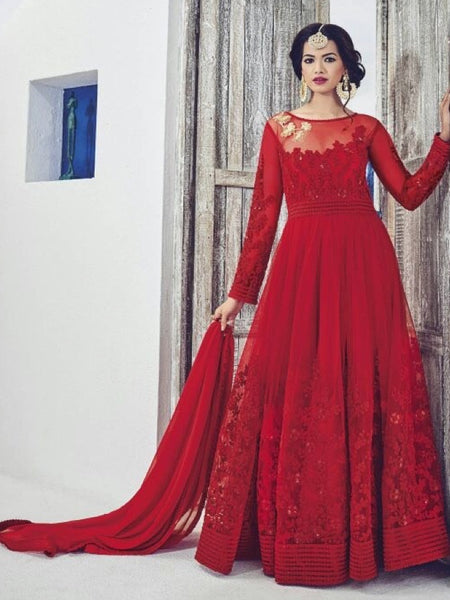 Cherry Red Premium Anarkali Gown - PurpleTulsi.com  - 1