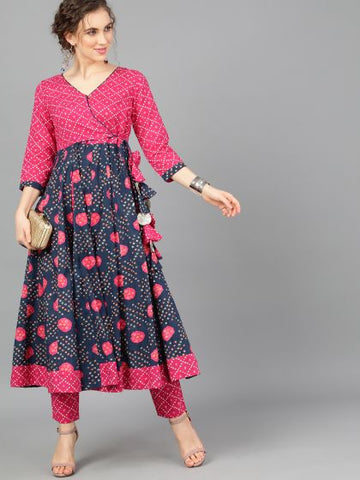 Navy Blue and Pink Cotton Printed Anarkali Kurti