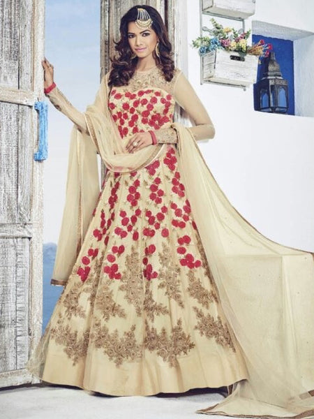 Beige and Red Anarkali Gown - PurpleTulsi.com  - 1