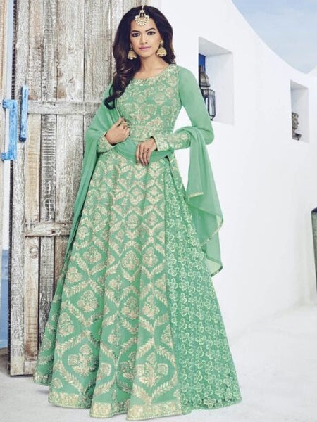 Ocean Green Anarkali Suit - PurpleTulsi.com  - 1