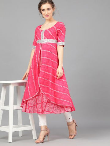 Magenta Cotton Printed Anarkali Kurti