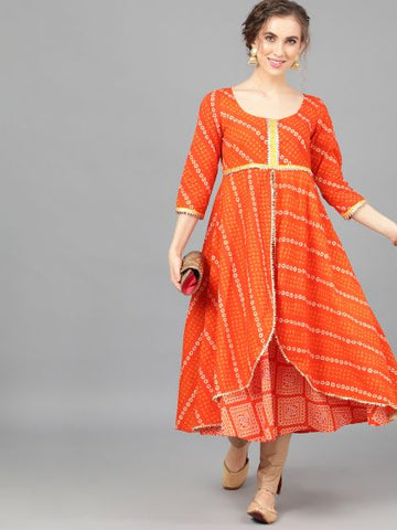 Orange Cotton Printed Anarkali Kurti