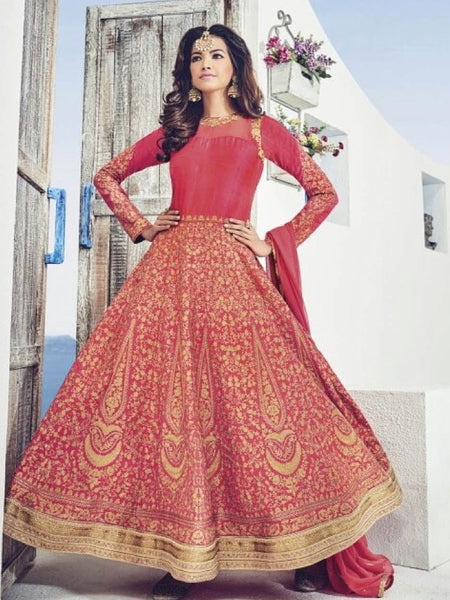 Red and Gold Anarkali Gown - PurpleTulsi.com  - 1