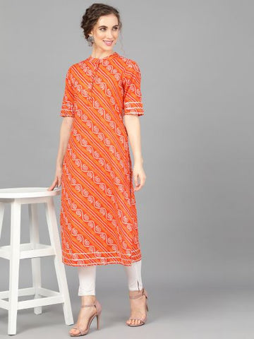 Orange Cotton Printed Straight Cut Kurti