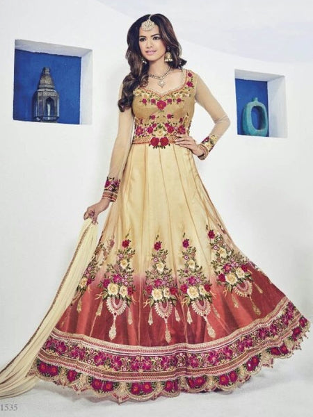 Gold and Multicolour Anarkali Gown - PurpleTulsi.com  - 1
