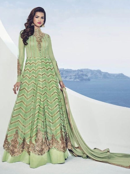 Exotic Sea Green Anarkali Gown - PurpleTulsi.com  - 1