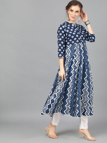 Navy Blue Cotton Printed Anarkali Kurti
