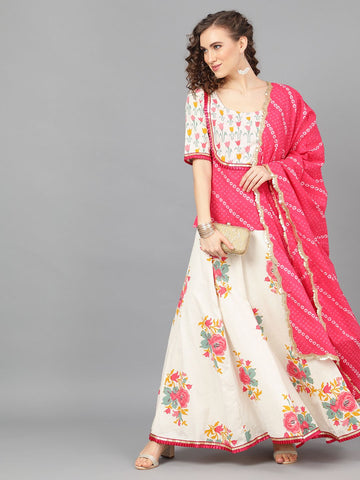 Off White and Pink Color Cotton Lehenga with Choli
