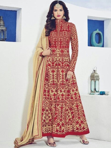 Beige and Crimson Red Premium Suit - PurpleTulsi.com  - 1
