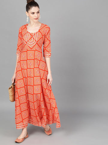 Orange Cotton Printed Dress