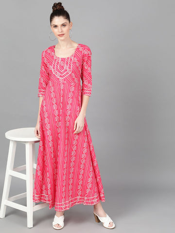 Magenta Cotton Printed Dress