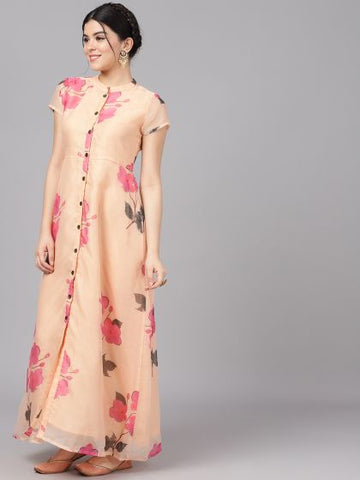 Cream and Pink Rayon Printed Dress