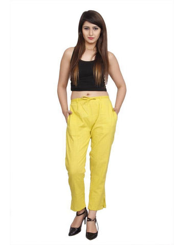 Yellow Cotton Slub  Plain  Slim Fit Pants