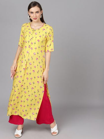 Yellow and Magenta Rayon Printed Straight Cut Kurti with Palazzo