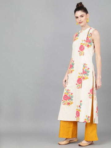 Off White Cotton Printed Straight Cut Kurti