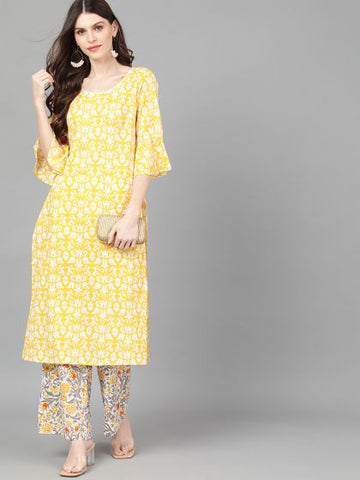 Yellow Cotton Printed Straight Cut Kurti with Palazzo