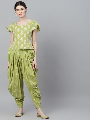 Green and White Cotton Printed Top with Patiala/Dhoti Pant