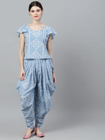 Blue and White Cotton Printed Top with Patiala/Dhoti Pant