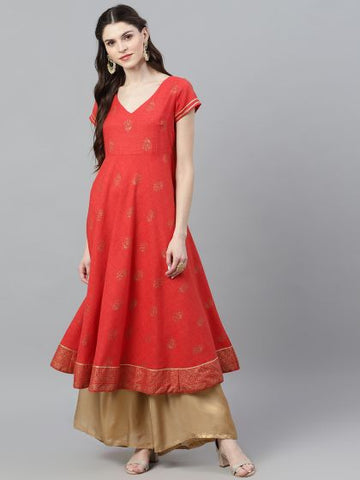 Red Cotton Block Printed Anarkali Kurti