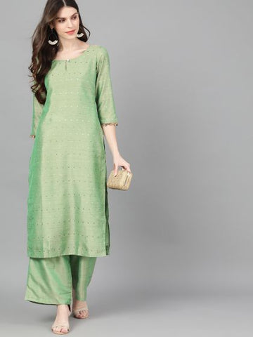 Green Silk Blend Straight Cut Kurti with Palazzo