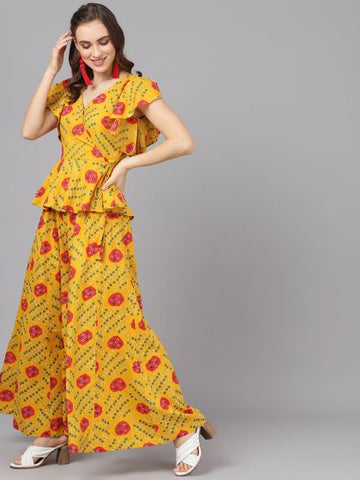 Yellow Cotton Printed Frilled Top & Palzzo