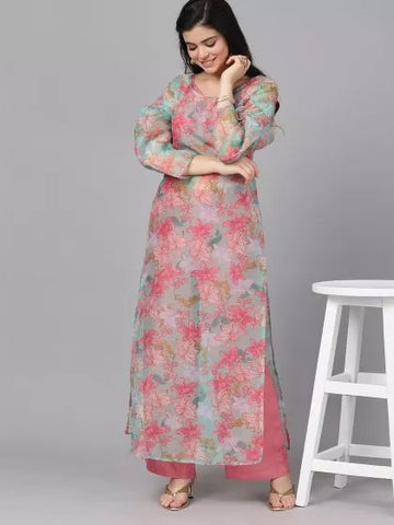 Pink and Peach Cotton Printed Straight Cut Kurti with Palazzo