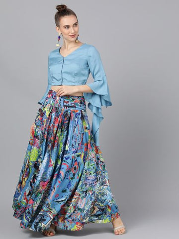 Blue Polyester Printed Top & Skirt