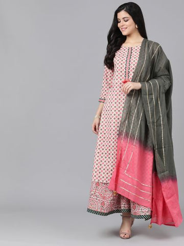 Peach Cotton Printed Straight Cut Suit