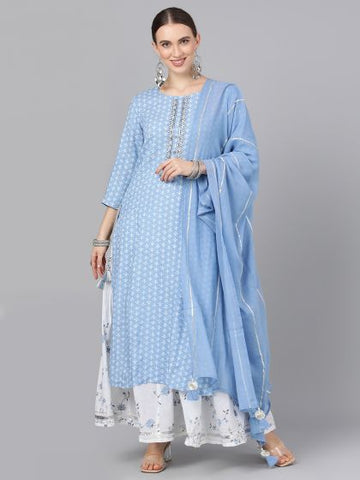 Blue Cotton Printed Straight Cut Suit