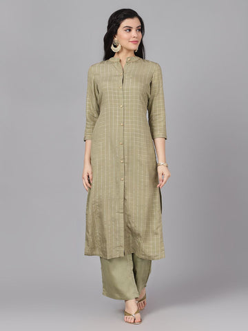 Olive Poly Chanderi Woven Straight Cut Kurti with Palazzo