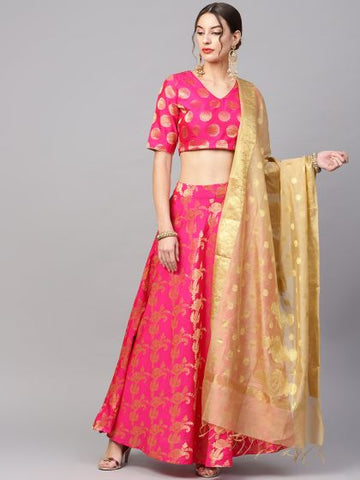 Magenta Poly Silk Woven Lehenga with Choli