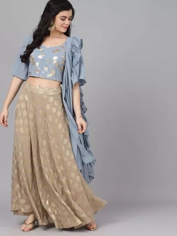 Grey Poly Georgette Printed Lehenga with Choli