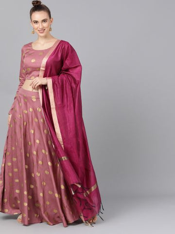 Mauve Rayon Printed Lehenga with Choli