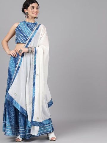 Blue and White Cotton Printed Lehenga with Choli