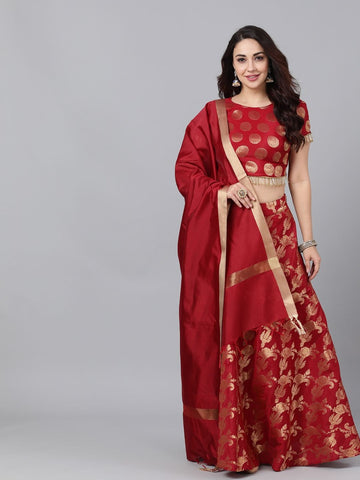 Maroon Brocade Woven Lehenga with Choli