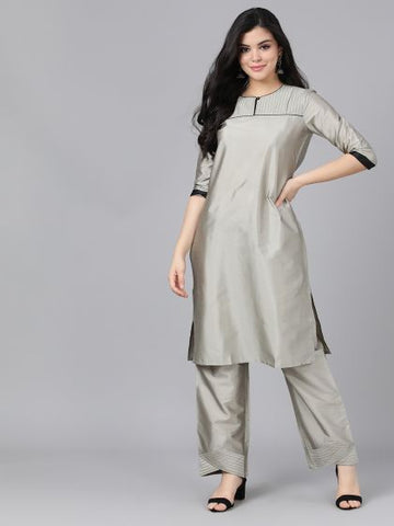 Grey Poly Georgette Straight Cut Kurti with Palazzo