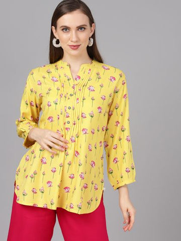 Yellow Color Rayon Printed Top