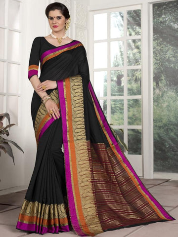 Traditional Wear Chanderi Silk Black Saree with Golden Border