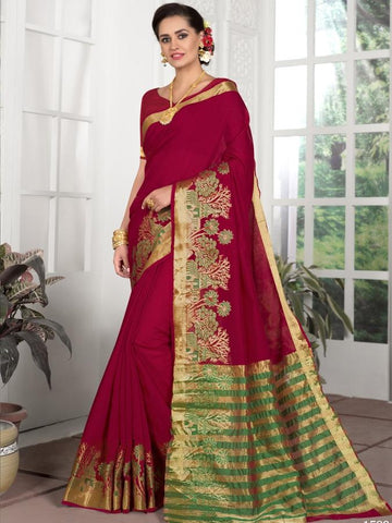Traditional Wear Chanderi Silk Red Saree with Green and Golden Pallu