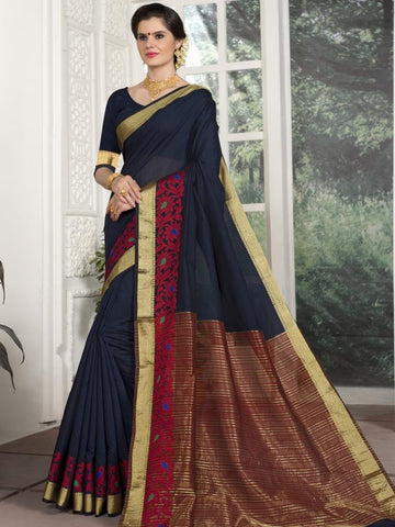 Traditional Wear Chanderi Silk Navy Blue Saree with Red and Golden Border