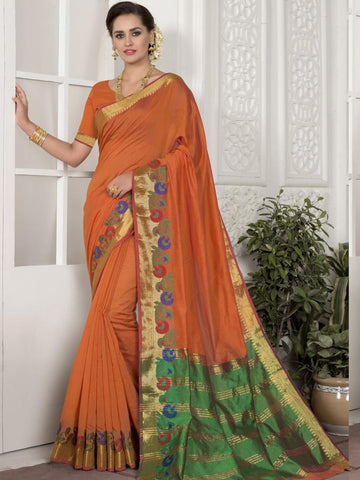 Traditional Wear Chanderi Silk Orange Saree with Golden Border