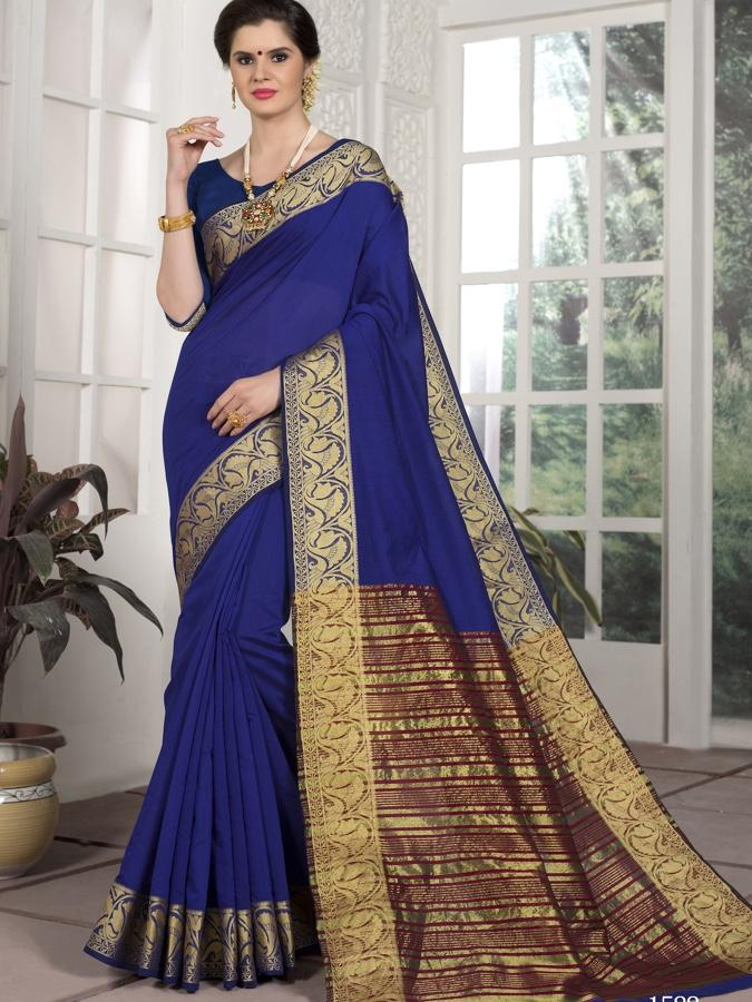 Traditional Wear Chanderi Silk Blue Saree with Golden Border