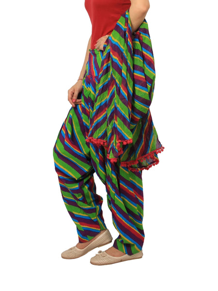 Awesome Printed Multi Color Cotton Patiala Pant With Dupatta