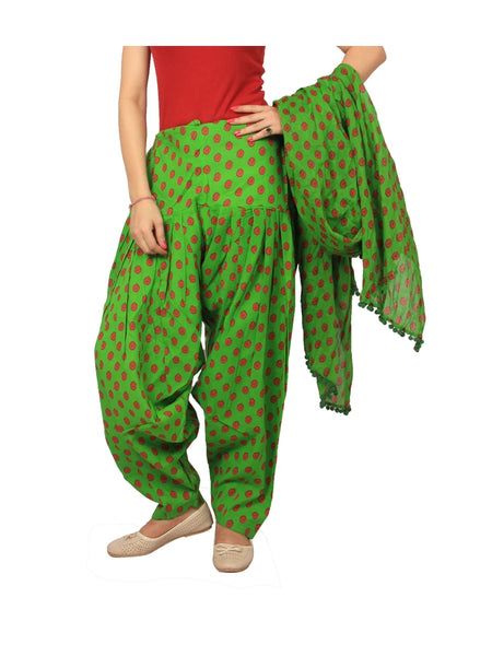 Awesome Printed Green Color Cotton Patiala Pant With Dupatta