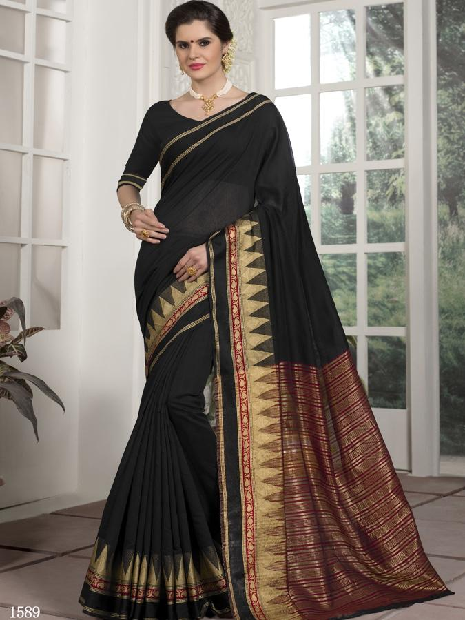 Traditional Wear Chanderi Silk Black  Saree with Golden Touch Border