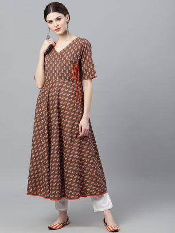 Brown and Orange Cotton Printed Anarkali Kurti