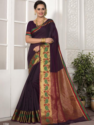 Traditional Wear Chanderi Silk Purple Saree with Golden Border