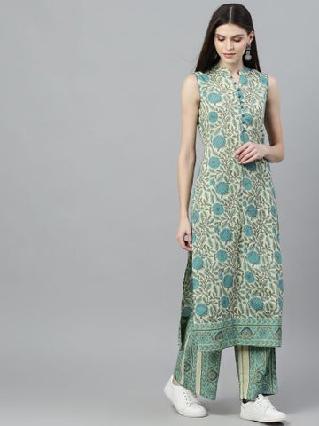 Blue Cotton Printed Straight Cut Kurti with Palazzo