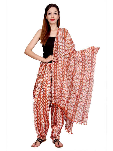 Awesome Printed Brown Color Cotton Patiala Pant With Dupatta