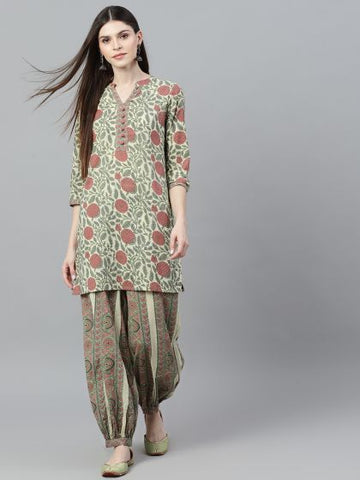 Cream and Red Cotton Printed Kurti with Palazzo